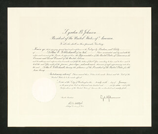 Autographs: PRESIDENT LYNDON B. JOHNSON - CIVIL APPOINTMENT SIGNED 01/26/1967 CO-SIGNED BY: NICHOLAS DEB KATZENBACH