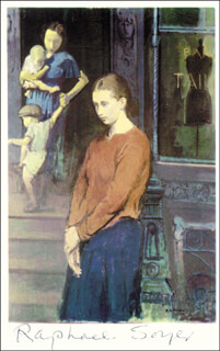RAPHAEL SOYER - PICTURE POST CARD SIGNED