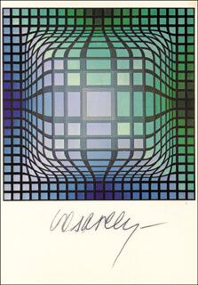 VICTOR VASARELY - PICTURE POST CARD SIGNED
