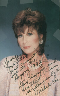 MICHELE LEE - INSCRIBED PICTURE POSTCARD SIGNED 1992
