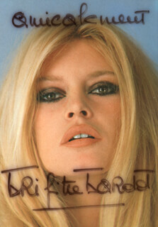 BRIGITTE BARDOT - INSCRIBED PICTURE POSTCARD SIGNED