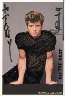 MAXWELL CAULFIELD - INSCRIBED PICTURE POSTCARD SIGNED