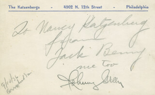 Autographs: JACK BENNY - INSCRIBED POST CARD SIGNED CO-SIGNED BY: JOHNNY GREEN