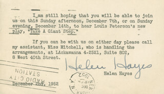 HELEN HAYES - TYPED NOTE SIGNED