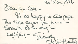 KIM HUNTER - AUTOGRAPH POST CARD SIGNED 11/30/1976
