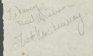 FRED MacMURRAY - INSCRIBED SIGNATURE