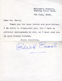 DAME EDITH EVANS - TYPED LETTER SIGNED 07/05/1949