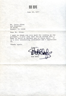 BOB HOPE - TYPED LETTER SIGNED 06/10/1977