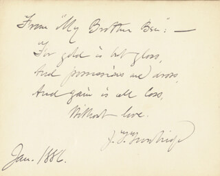JOHN TOWNSEND TROWBRIDGE - AUTOGRAPH QUOTATION SIGNED 1/1886