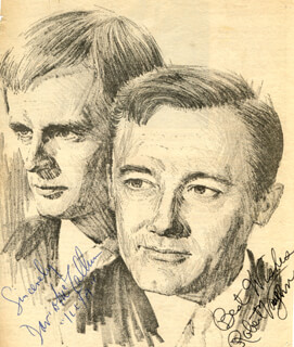 THE MAN FROM U.N.C.L.E. TV CAST - NEWSPAPER PHOTOGRAPH SIGNED CO-SIGNED BY: DAVID McCALLUM, ROBERT VAUGHN