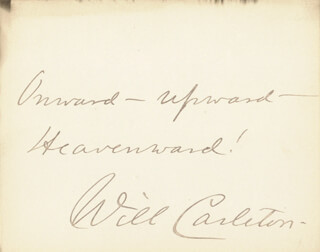 WILL CARLETON - AUTOGRAPH QUOTATION SIGNED