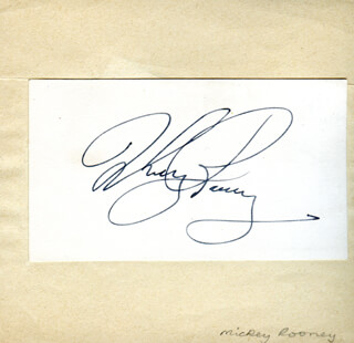 MICKEY ROONEY - AUTOGRAPH CO-SIGNED BY: ROBERT ATKINS