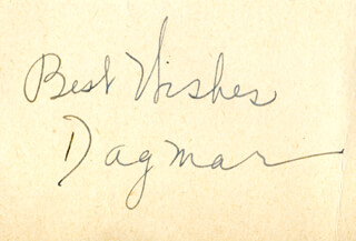 DAGMAR (VIRGINIA RUTH EGNOR) - AUTOGRAPH SENTIMENT SIGNED