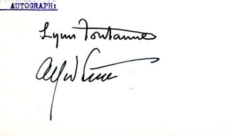 LYNN FONTANNE - AUTOGRAPH CO-SIGNED BY: ALFRED LUNT