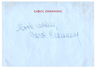 CAROL CHANNING - AUTOGRAPH SENTIMENT SIGNED