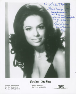 BARBARA McNAIR - AUTOGRAPHED INSCRIBED PHOTOGRAPH 7/1976