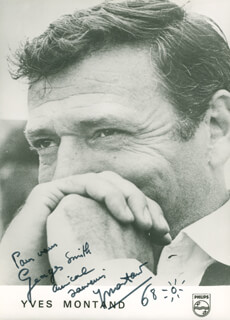 YVES MONTAND - AUTOGRAPHED INSCRIBED PHOTOGRAPH 1968