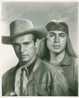 Autographs: BROKEN ARROW TV CAST - INSCRIBED PHOTOGRAPH SIGNED CO-SIGNED BY: MICHAEL ANSARA, JOHN LUPTON