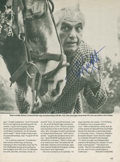 TED KNIGHT - NEWSPAPER ARTICLE SIGNED