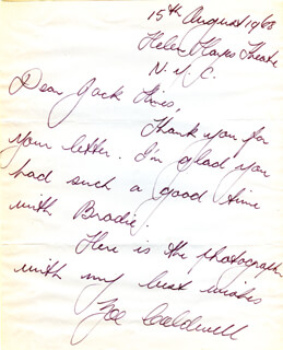 ZOE CALDWELL - AUTOGRAPH LETTER SIGNED 08/15/1968