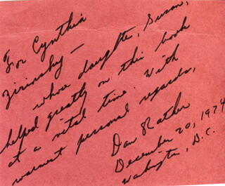 DAN RATHER - INSCRIBED CARD SIGNED 12/20/1974