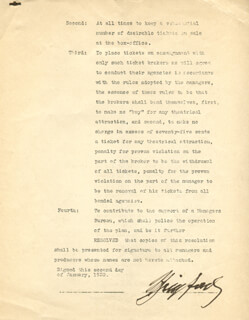 FLORENZ FLO ZIEGFELD JR. - DOCUMENT SIGNED 01/02/1930