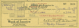 Autographs: CECIL B. DEMILLE - CHECK SIGNED 06/13/1944