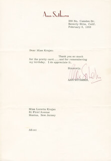 ANN SOTHERN - TYPED LETTER SIGNED 02/06/1959