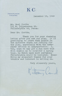 KATHARINE CORNELL - TYPED LETTER SIGNED 12/12/1949
