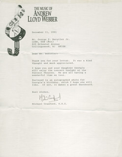 MICHAEL CRAWFORD - TYPED LETTER SIGNED 12/11/1991
