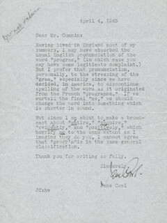 JANE COWL - TYPED LETTER SIGNED 04/04/1945
