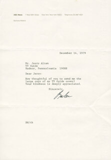 BARBARA WALTERS - TYPED LETTER SIGNED 12/14/1979