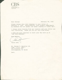 PAULA ZAHN - TYPED LETTER SIGNED 02/28/1992