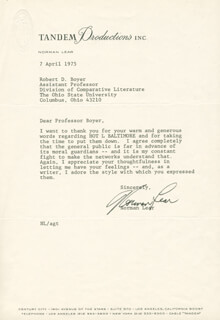 NORMAN LEAR - TYPED LETTER SIGNED 04/07/1975