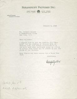 ADOLPH POPS ZUKOR - TYPED LETTER SIGNED 01/03/1945