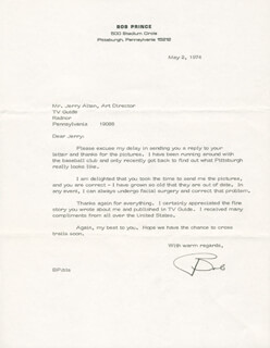 BOB PRINCE - TYPED LETTER SIGNED 05/02/1974