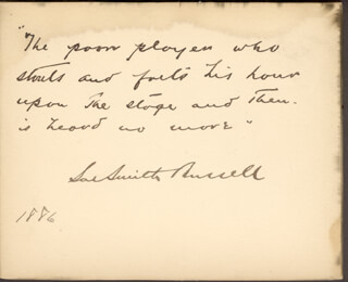 SOL SMITH RUSSELL - AUTOGRAPH QUOTATION SIGNED 1886