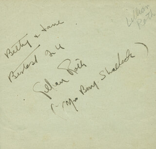 LILLIAN ROTH - AUTOGRAPH NOTE SIGNED