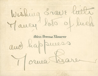 NORMA SHEARER - AUTOGRAPH NOTE ON CALLING CARD SIGNED