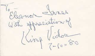 KING VIDOR - AUTOGRAPH NOTE SIGNED 07/10/1980