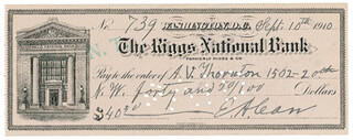 MAJOR GENERAL EUGENE A. CARR - AUTOGRAPHED SIGNED CHECK 09/10/1910