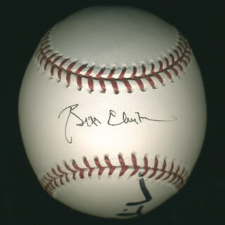 Autographs: PRESIDENT WILLIAM J. BILL CLINTON - BASEBALL SIGNED CO-SIGNED BY: FIRST LADY HILLARY RODHAM CLINTON