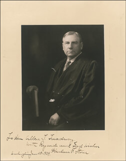CHIEF JUSTICE HARLAN F. STONE - AUTOGRAPHED INSCRIBED PHOTOGRAPH 01/15/1934