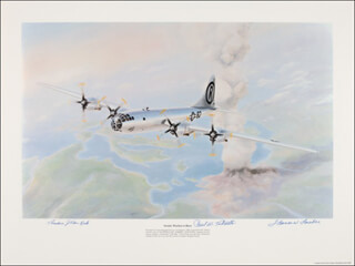 ENOLA GAY CREW - LITHOGRAPH SIGNED CO-SIGNED BY: ENOLA GAY CREW (THEODORE VAN KIRK), ENOLA GAY CREW (PAUL W. TIBBETS), ENOLA GAY CREW (COLONEL THOMAS W. FEREBEE)