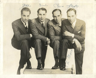 THE MARX BROTHERS - AUTOGRAPHED SIGNED PHOTOGRAPH CO-SIGNED BY: HARPO (ADOLPH) MARX, ZEPPO (HERBERT) MARX, CHICO (LEONARD) MARX, GROUCHO (JULIUS) MARX