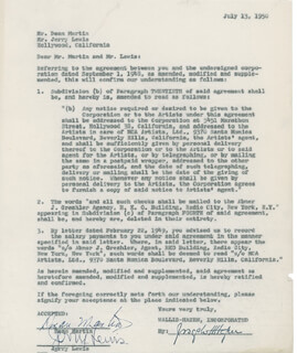 MARTIN & LEWIS - CONTRACT SIGNED 07/13/1950 CO-SIGNED BY: DEAN MARTIN, JERRY LEWIS
