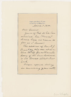 BRIGADIER GENERAL WILLIAM DENISON WHIPPLE - AUTOGRAPH LETTER SIGNED 03/07/1900