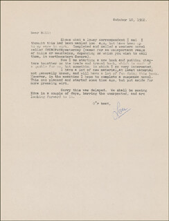 LOUIS D. L'AMOUR - TYPED LETTER SIGNED 10/10/1962