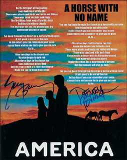 AMERICA - AUTOGRAPHED SIGNED PHOTOGRAPH CO-SIGNED BY: AMERICA (GERRY BECKLEY), AMERICA (DEWEY BUNNELL)