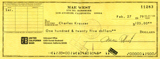 MAE WEST - AUTOGRAPHED SIGNED CHECK 02/27/1979